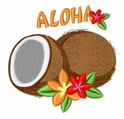 Coconut Aloha embroidery design