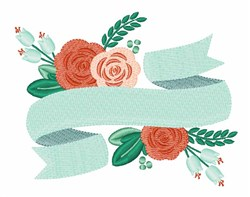Banner Roses embroidery design