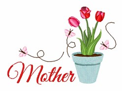 Mothers Tulips embroidery design