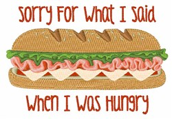 I Was Hungry embroidery design
