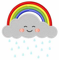 Rainbow & Cloud embroidery design