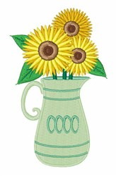 Sunflower Vase embroidery design