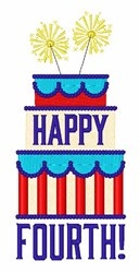 Happy Fourth Cake embroidery design