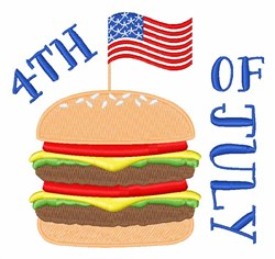 4th Of July Burger embroidery design