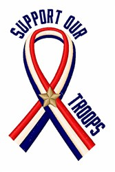 Support Our Troops Ribbon embroidery design