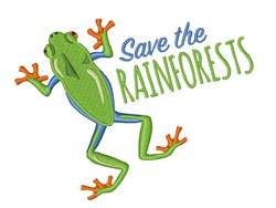 Save The Rainforests Frog embroidery design