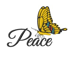 Peace Butterfly embroidery design