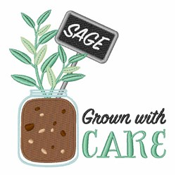 Sage Grown With Care embroidery design
