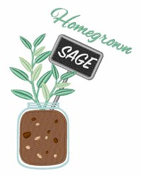 Homegrown Sage embroidery design