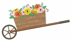 Flower Wheelbarrow embroidery design
