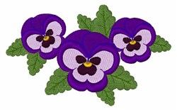 Purple Pansies embroidery design