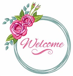 Welcome Roses embroidery design