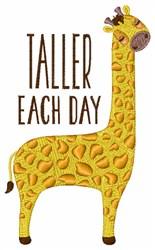 Taller Each Day Giraffe embroidery design