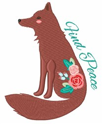 Find Peace Fox embroidery design