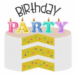 Birthday Party Cake embroidery design