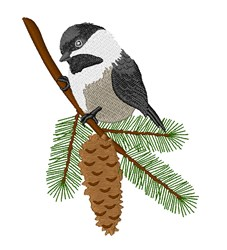 Chickadee In Tree embroidery design