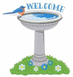 Welcome Bird Bath embroidery design