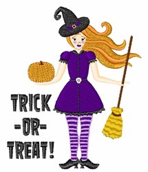 Trick Or Treat Witch embroidery design