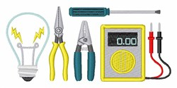 Electrician Equipment embroidery design