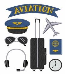 Aviation Pilot embroidery design