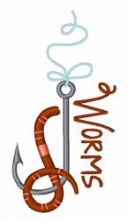 Fishing Worms embroidery design