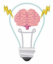 Brain Light Bulb embroidery design