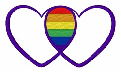 Gay Pride Hearts embroidery design