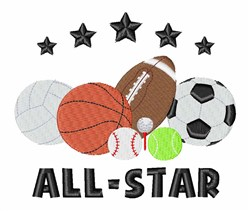 Sports All Star embroidery design