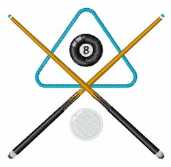 Pool Cue & Balls embroidery design