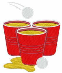 Beer Pong Cups embroidery design