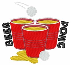 Beer Pong embroidery design