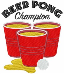 Beer Pong Champion embroidery design