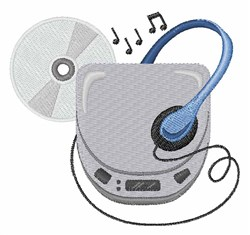Compact Disc Walkman embroidery design