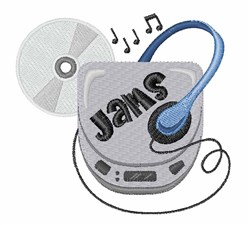 Jammin CD Walkman embroidery design