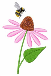 Bee & Cone Flower embroidery design