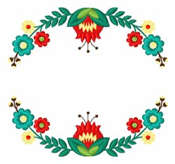 Folk Art Wreath embroidery design
