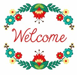 Welcome Floral Wreath embroidery design