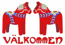 Swedish Horse Valkommen embroidery design