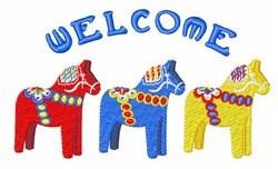 Welcome Dala Horses embroidery design