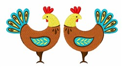 Country Roosters embroidery design
