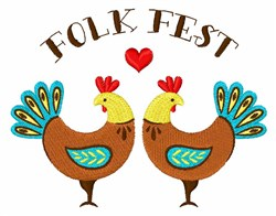 Folk Fest Roosters embroidery design