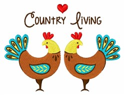 Country Living Roosters embroidery design