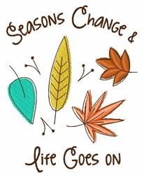 Seasons Change Leaves embroidery design