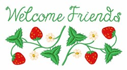 Welcome Strawberry Border embroidery design