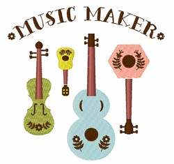 Music Maker Instruments embroidery design