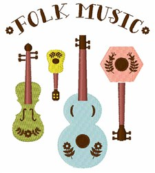 Folk Music Instruments embroidery design
