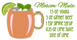 Moscow Mule Recipe embroidery design