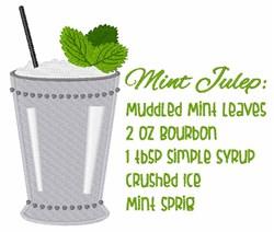 Mint Julep Recipe embroidery design