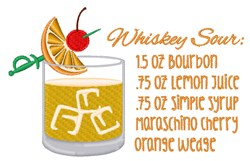 Whiskey Sour Recipe embroidery design
