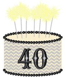 40 Birthday Cake embroidery design